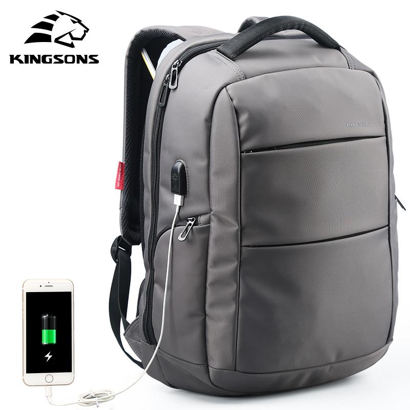 Kingsons External Charging Usb Function School Backpack Anti-theft Boy's Girl's Dayback Women Travel Bag 15.6 Inch J190427