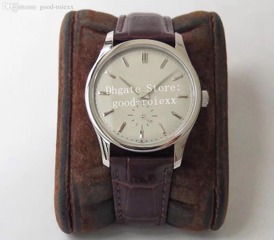 37mm Vintage unisexe Montre ST19 hommes mécanique main-Winde 5196 Eta Mesdames Montres Hommes Calatrava cuir Midsize acier Sapphire Montres-bracelets