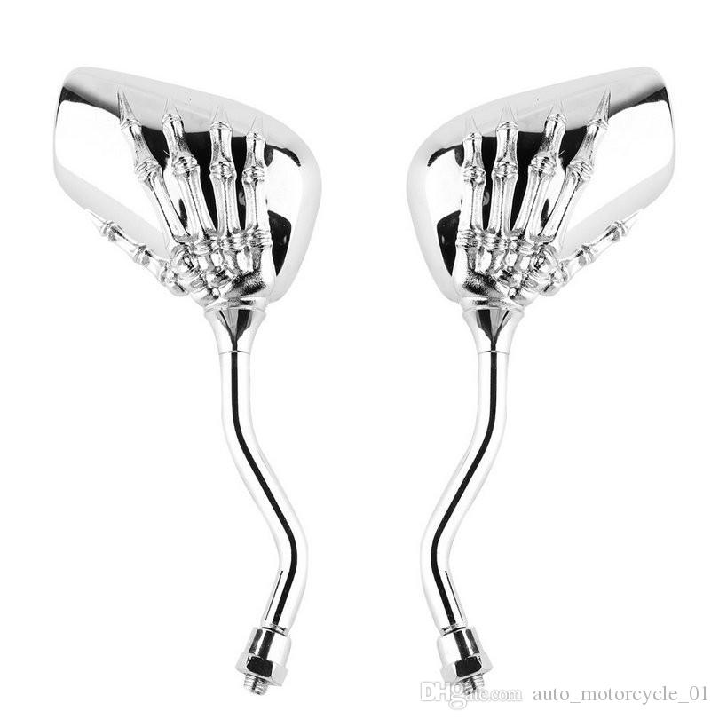 2pcs 1 pair of Universal Motorcycle Chrome SKELETON Skull HAND Claw Side Mirror Light Right 10mm For HONDA XL1000V VARADER Free Shipping 001