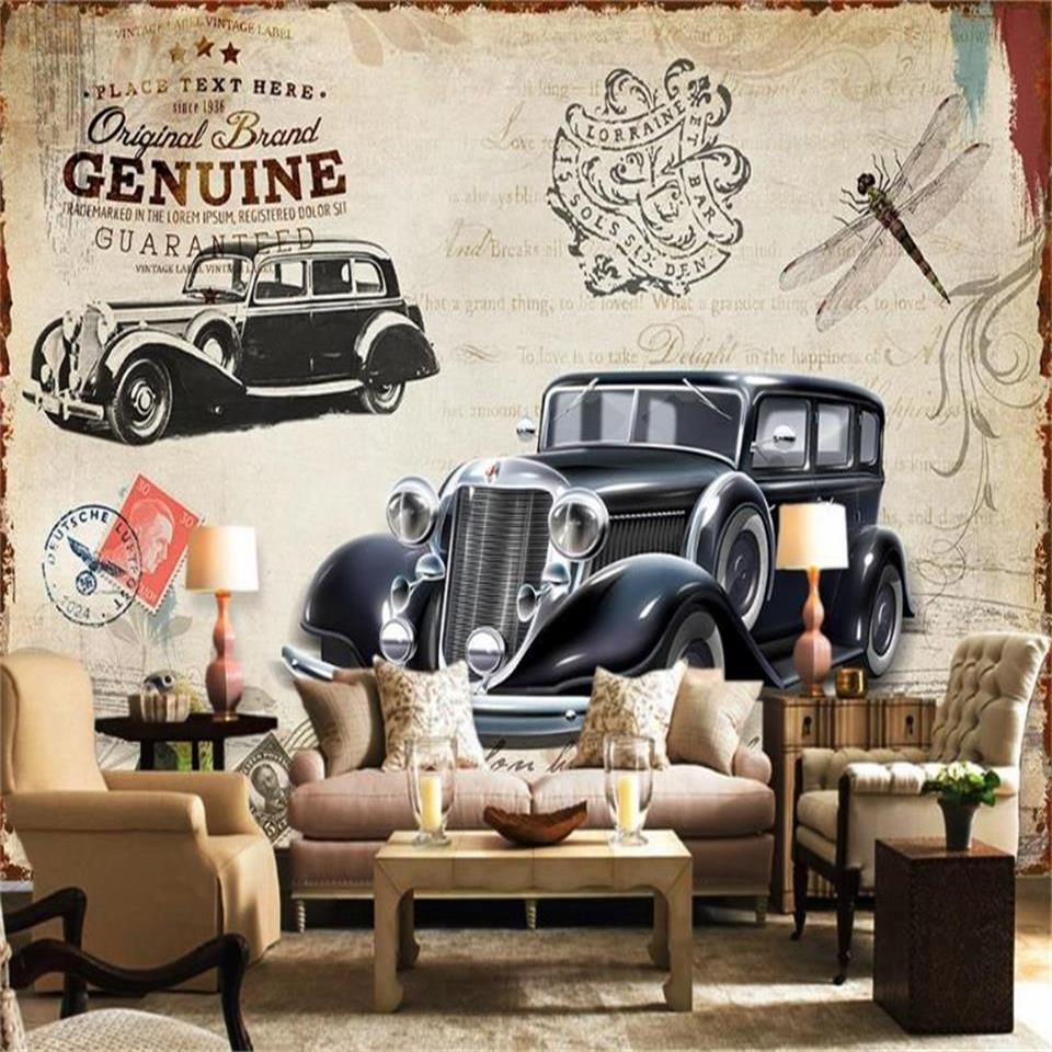 custom size 3d photo wallpaper livingroom bed room mural british style vintage car picture sofa TV backdrop wallpaper non-woven wall sticker