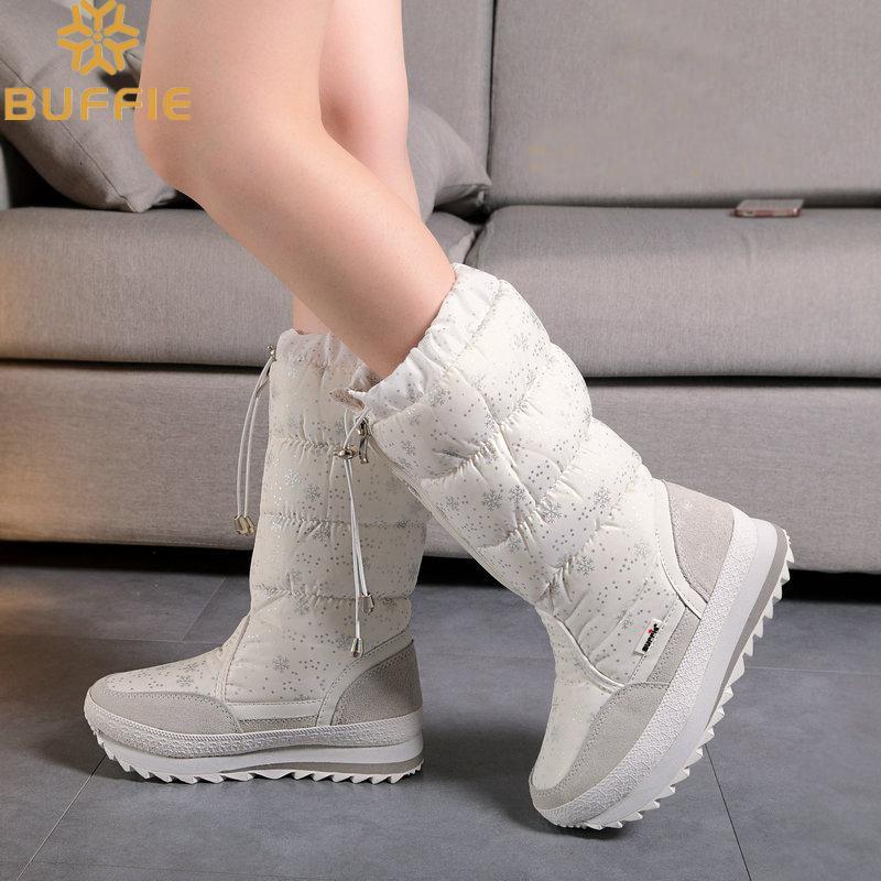 Knee High Girls Winter Boots Shoe White