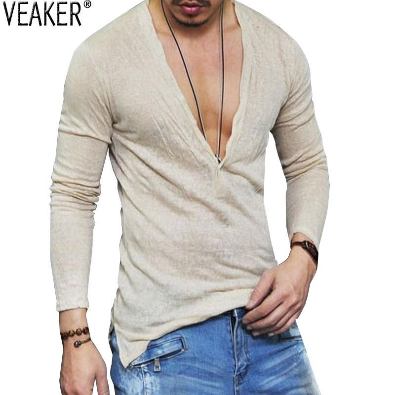 2018 Men's Autumn Shirt Male Sexy Deep V Neck Slim Fit T Shirts Casual White Long Sleeve Linen T-shirts Tops S-2xl C19040302