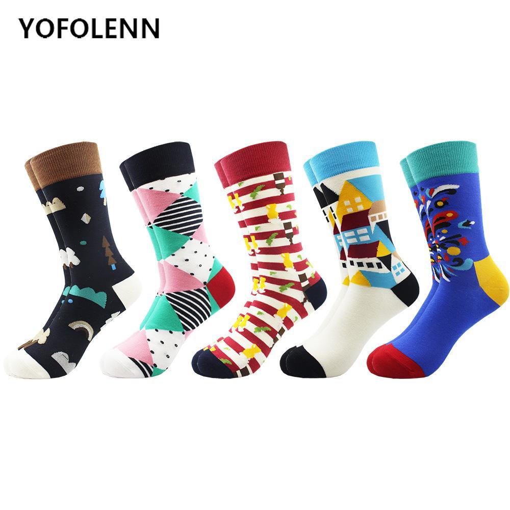 5 çift / grup Yenilik Renkli Desen Penye Pamuk Rahat Elbise Adam için Serin Komik Kaykay Çorap Düğün Çorap Düğün Sokak giyim