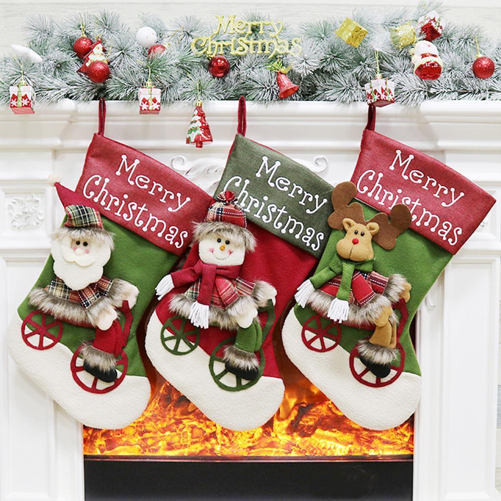 حلوى حقيبة هدايا عيد الميلاد شجرة حلية الجورب سانتا كلوز ثلج سوك عيد الميلاد علب الهدايا 8.29