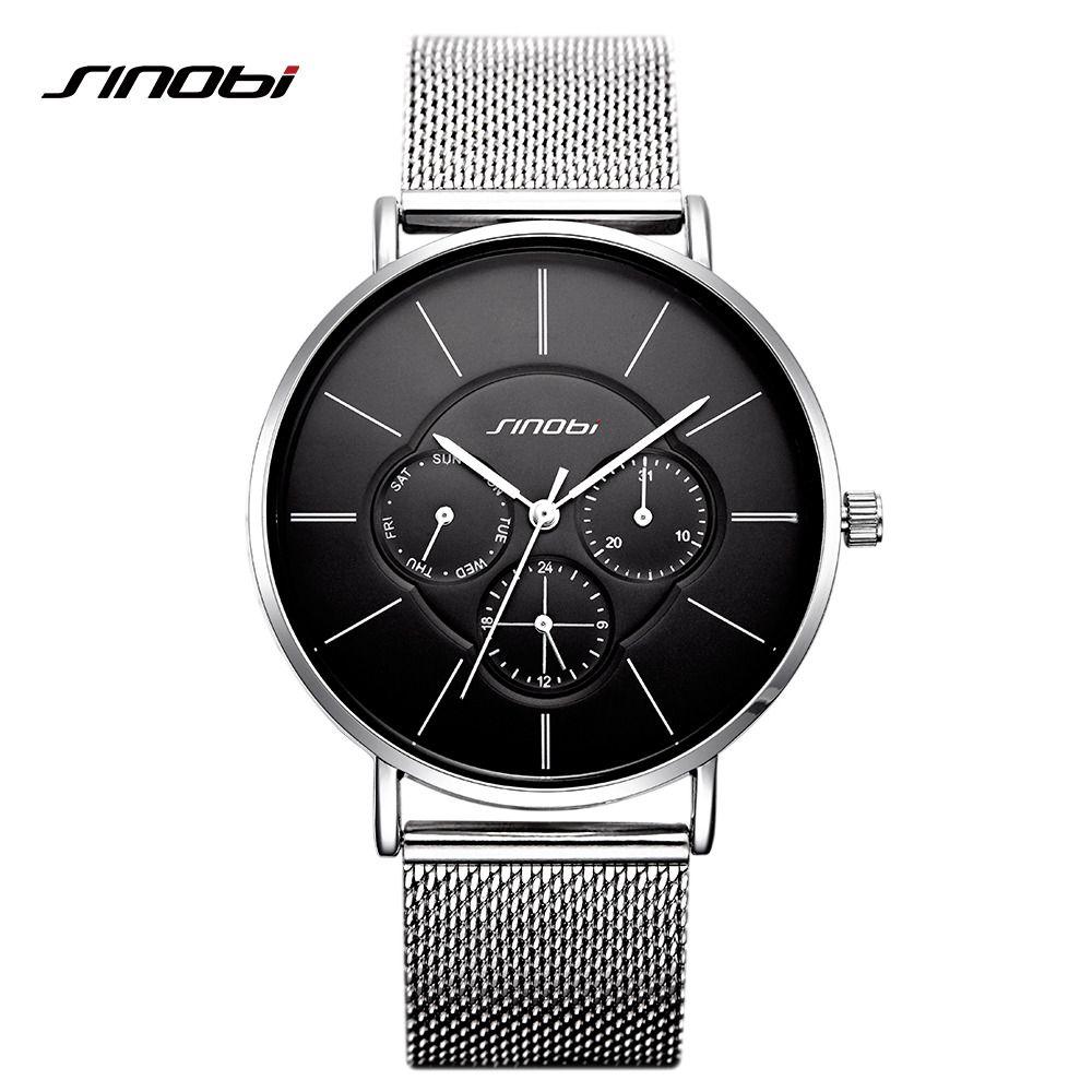 SINOBI الأسود موضة نسائية عادية الساعات الفولاذ المقاوم للصدأ شبكة فرقة النظير كوارتز ساعة اليد اللباس السيدات ووتش MONTRE فام