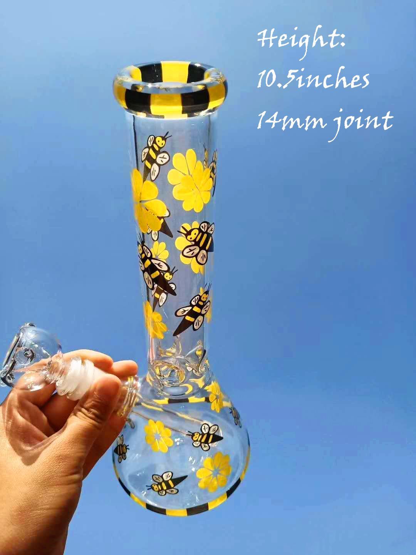 10,5 pouces tuyaux Base de verre jaune abeille Beaker barboteur eau Affût droite Dab Perc huile Rigs 14mm récipient en verre commun bol de bongs