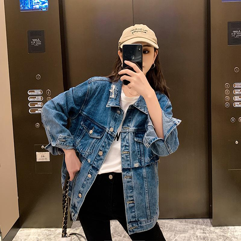 2020 denim jacket female bf tide spring and autumn 2 loose baseball clothing female tide thin students sexy