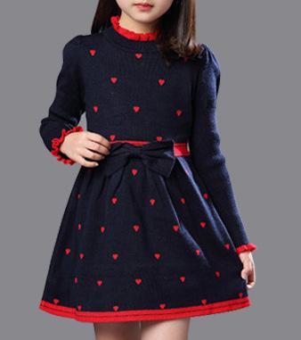 Девушки Зима Хлопок Водолазка Платье Принцессы С Длинными Рукавами Детская Одежда Красный Синий V191203