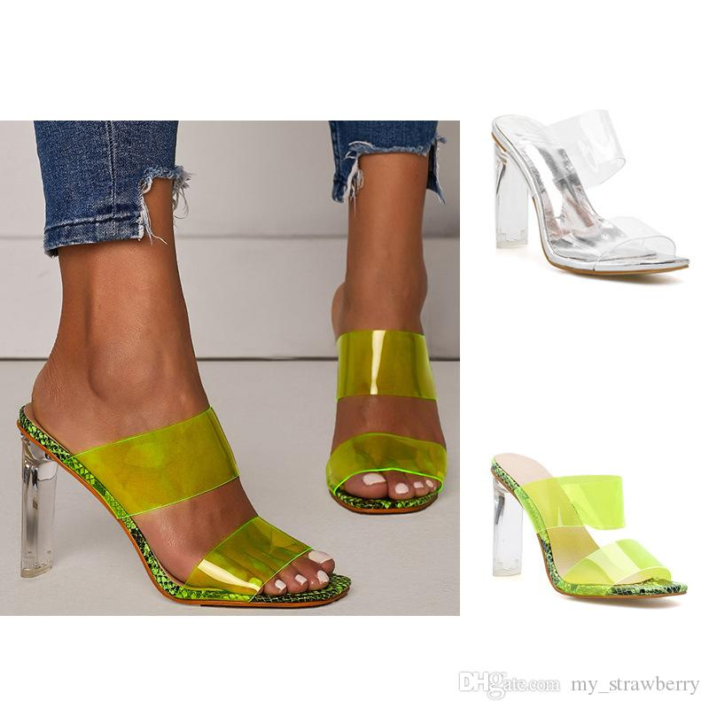 European And American Womens Shoes Large Size High Heels Sexy Transparent Sandals Slippers Green Silver 42