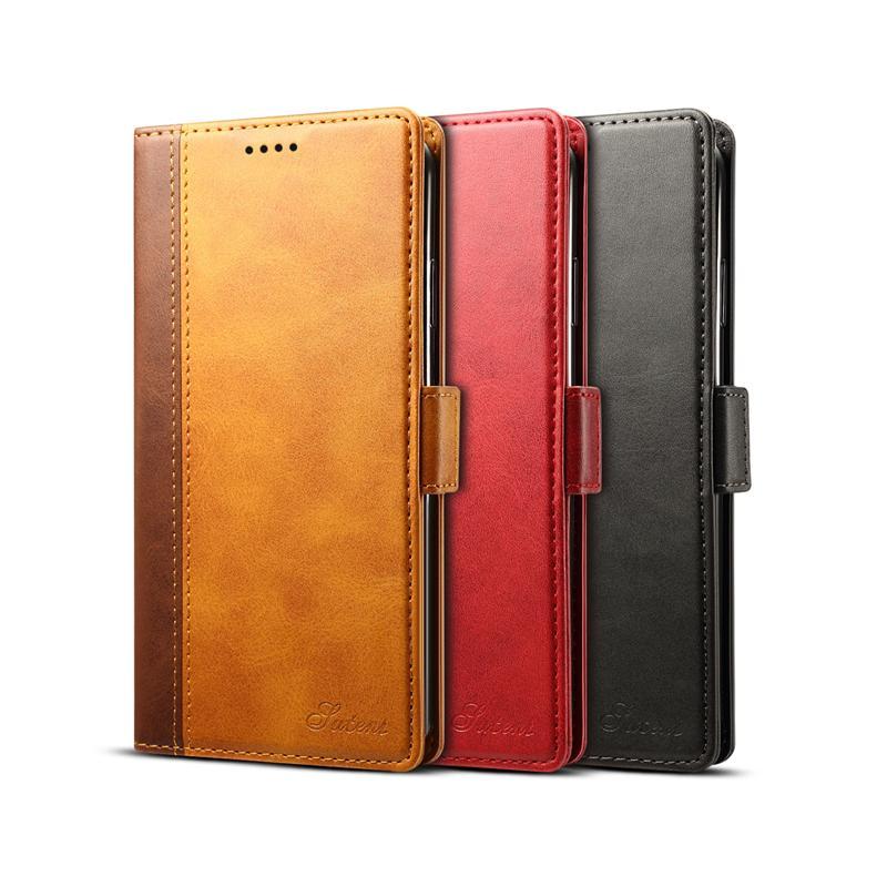 أعلى جودة بو الجلود حظر اللون حالة مع حامل البطاقة لابل اي فون 11 سامسونج S10 متعددة الوظائف تغطي لونين اختياري