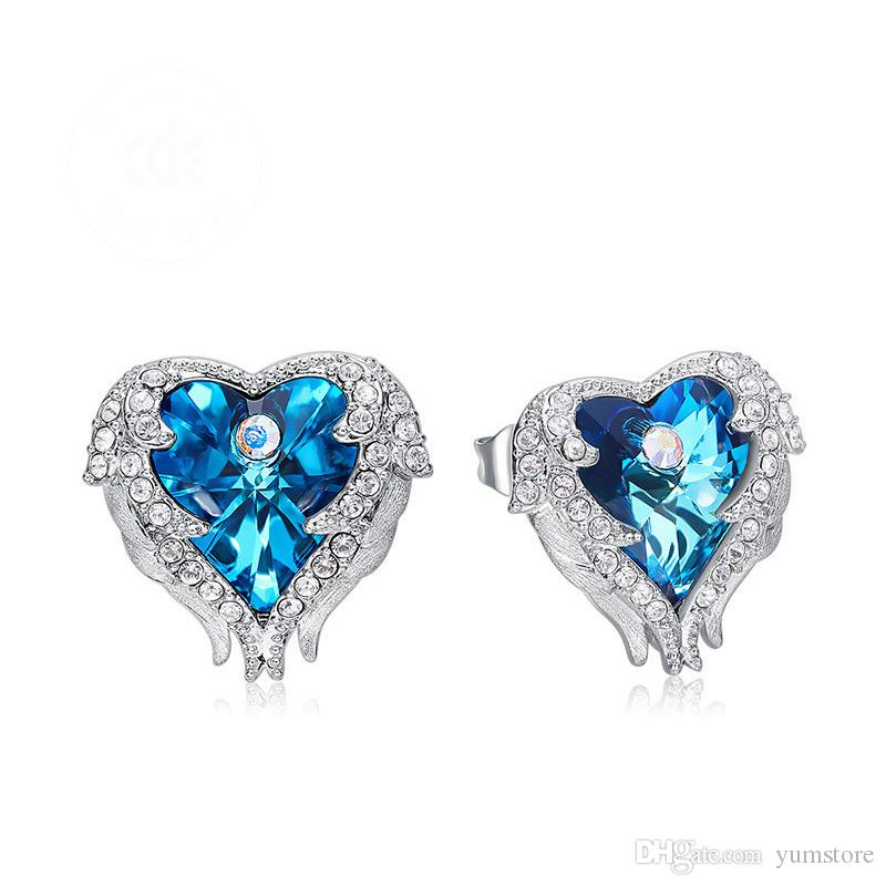Elegant Swarovski Crystal Earrings Angels Wing Heart Stud Crystal Blue Purple Earring Stud Luxury Gifts For Girls