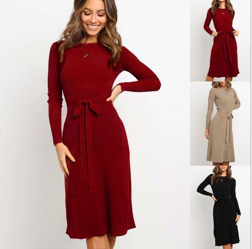 nuovo abito a maniche lunghe primavera 2020 di colore solido sottile cinturino modelli di esplosione di moda femminile transfrontalieri Abiti casual americane europee