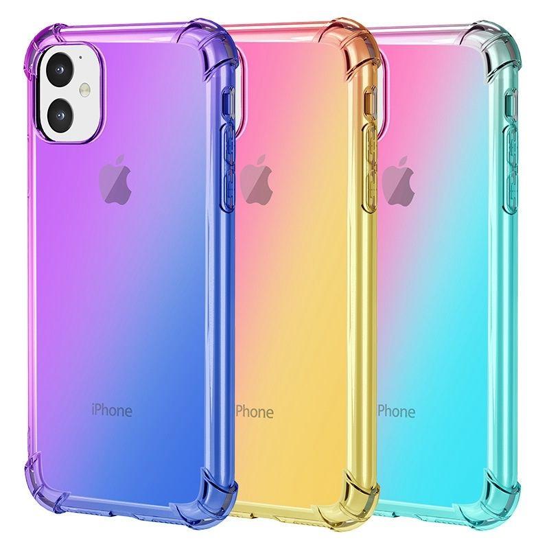 Yumuşak TPU Gradyan Renkler Telefon Kılıfı iPhone 5 5S SE 11 Pro Max X XR XS MAX Coque Kapak Kılıf iPhone 6 6S 7 8 Artı