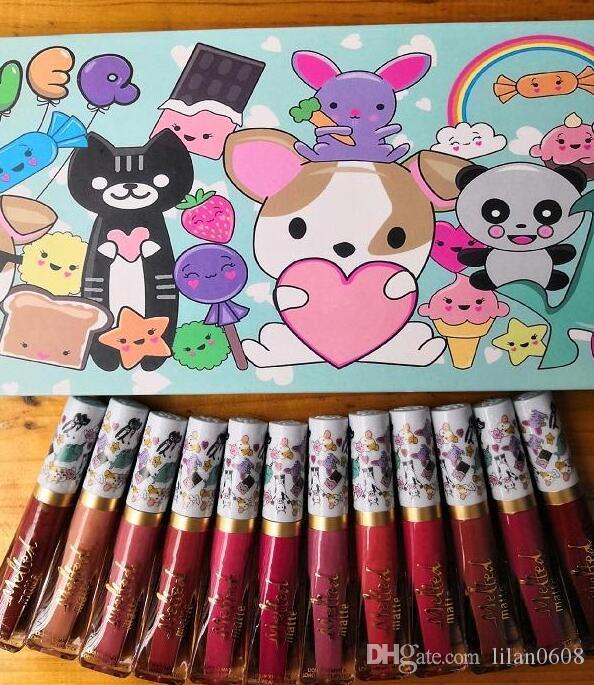 2018 12color/set Brand Matte Lip Gloss Long Lasting Nude Velvet Lip Cream Tattoo Labiales Matte Liquid Lipstick Cosmetics