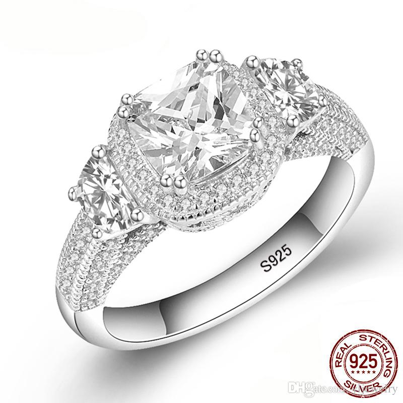 Solid Three Diamond 925 Sterling Silver Engagement Rings Fashion Style 7mm Carat Cubic Zirconia Rings Jewelry sepcial unique XR096