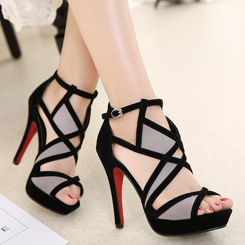 Women's sandals summer sexy fashion style black color ankle strap cross gladiator block red sole high heels pumps