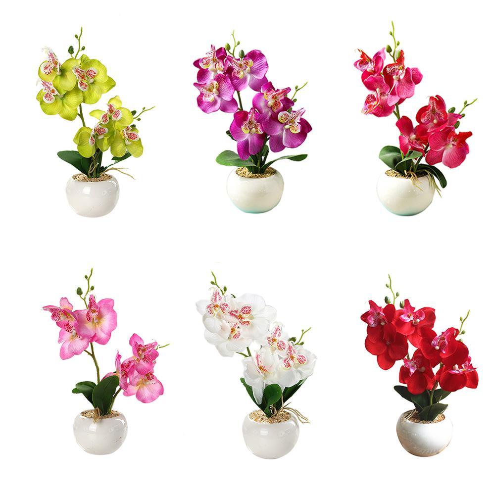 Phalaenopsis Bifás de bonsai com Vasos com Flores Artificiais DIY Festa Em Casa Ornamentos Florais Decoração Criativa Layout de Cena