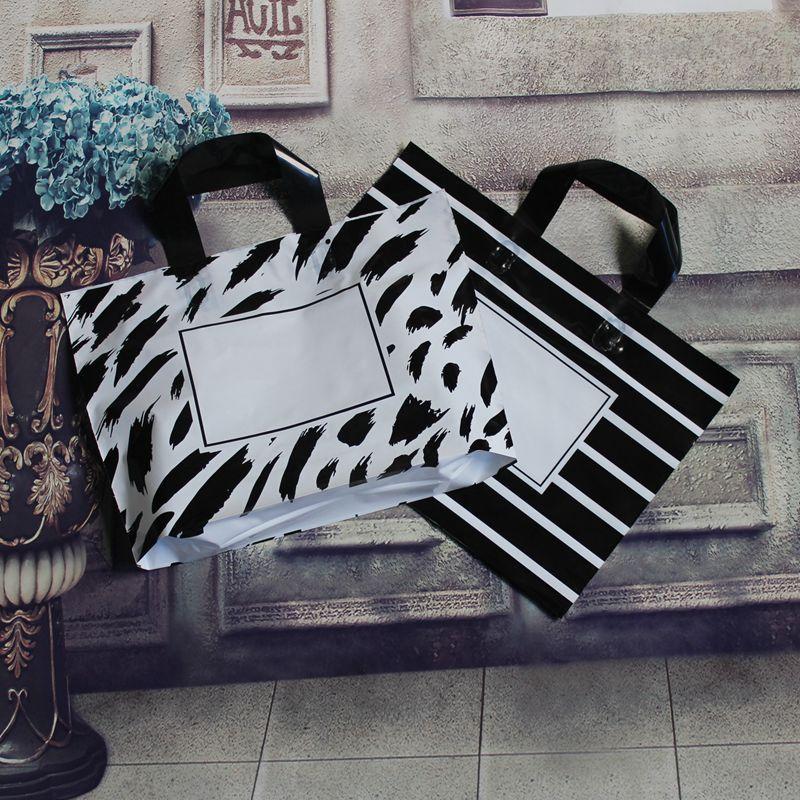3 tamanhos de 50 unidades / lote grande listras pretas do presente da festa de casamento Bag saco de presente punho plástico, plástico de compras