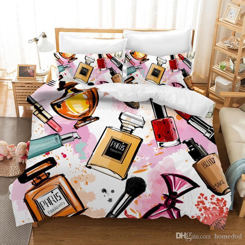 Digital Printing Series Duvet Cover Pillowcace Bedding Set Girls Bed Linens Set Girls Single Double Queen King