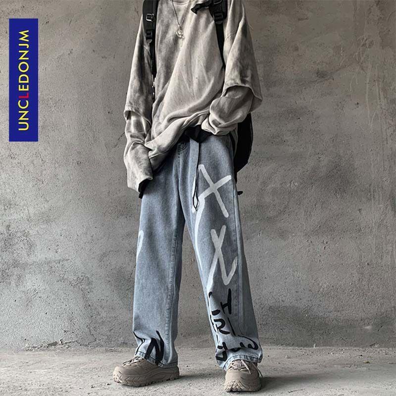 UNCLEDONJM Graffiti-Druck Lässige Baggy Denim Jeans Hip Hop Hipster Street Pants Men Fashion Punk Rock Hose männlich AN-C032 T200615