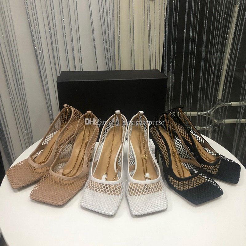 럭셔리 디자이너 하이힐 광장 발가락 드레스 신발 메쉬와 베리 CALFSTRETCH 섹시 체인 샌들 SCHUHE 패션 STRETCH 펌프 여성 펌프