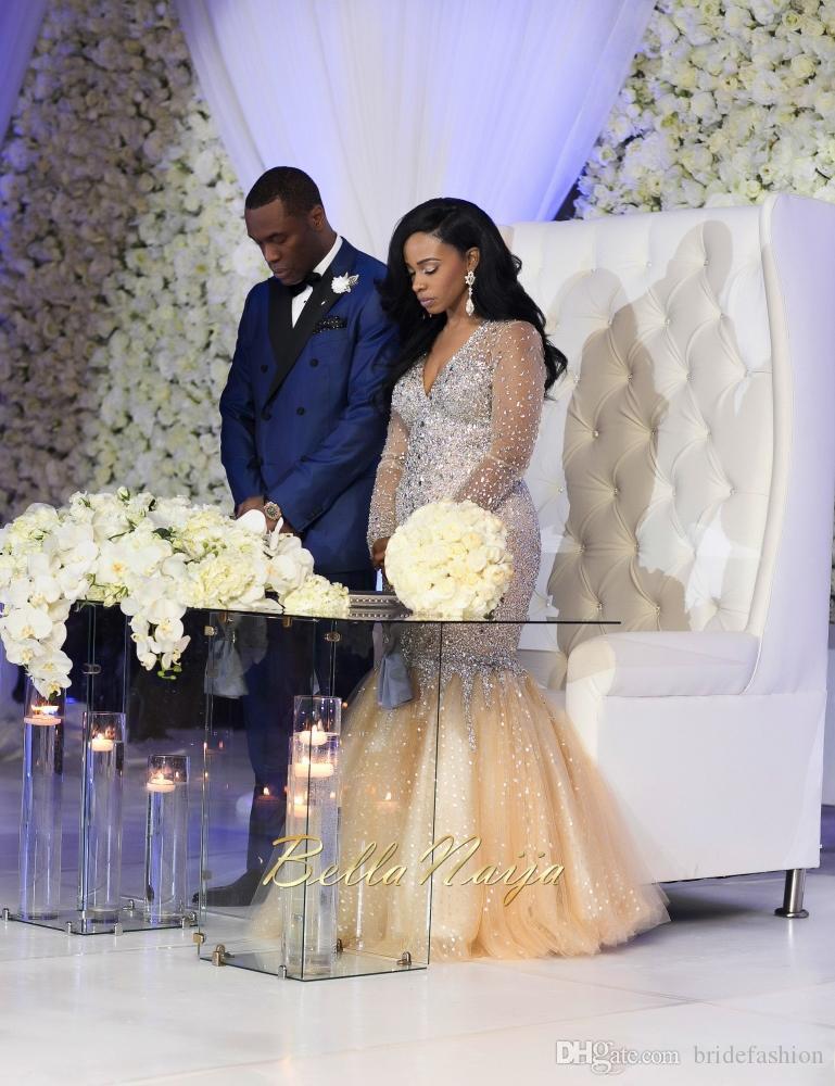 Свадебные платья с длинными рукавами и шампанским 2019 V-образным вырезом с кристаллами и бисером Русалка Большой размер Анкара Арабские африканские платья vestidos de novia