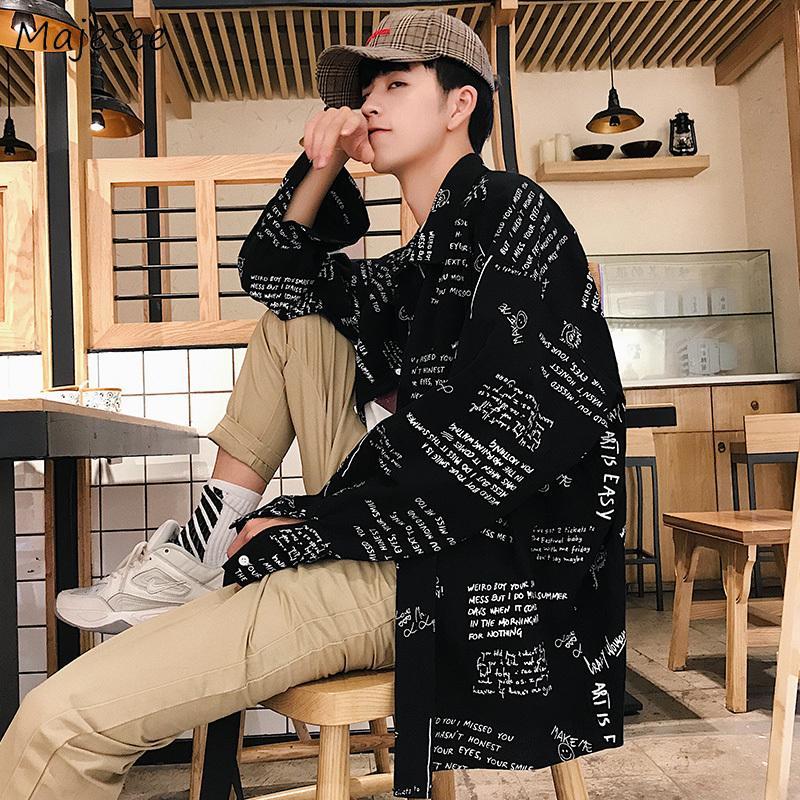 Shirt Homme Imprimé en vrac Casual Retro manches longues Simple Hauts Hommes Chemises coréenne FashionTurn-down Collier Taille Plus Vêtements doux