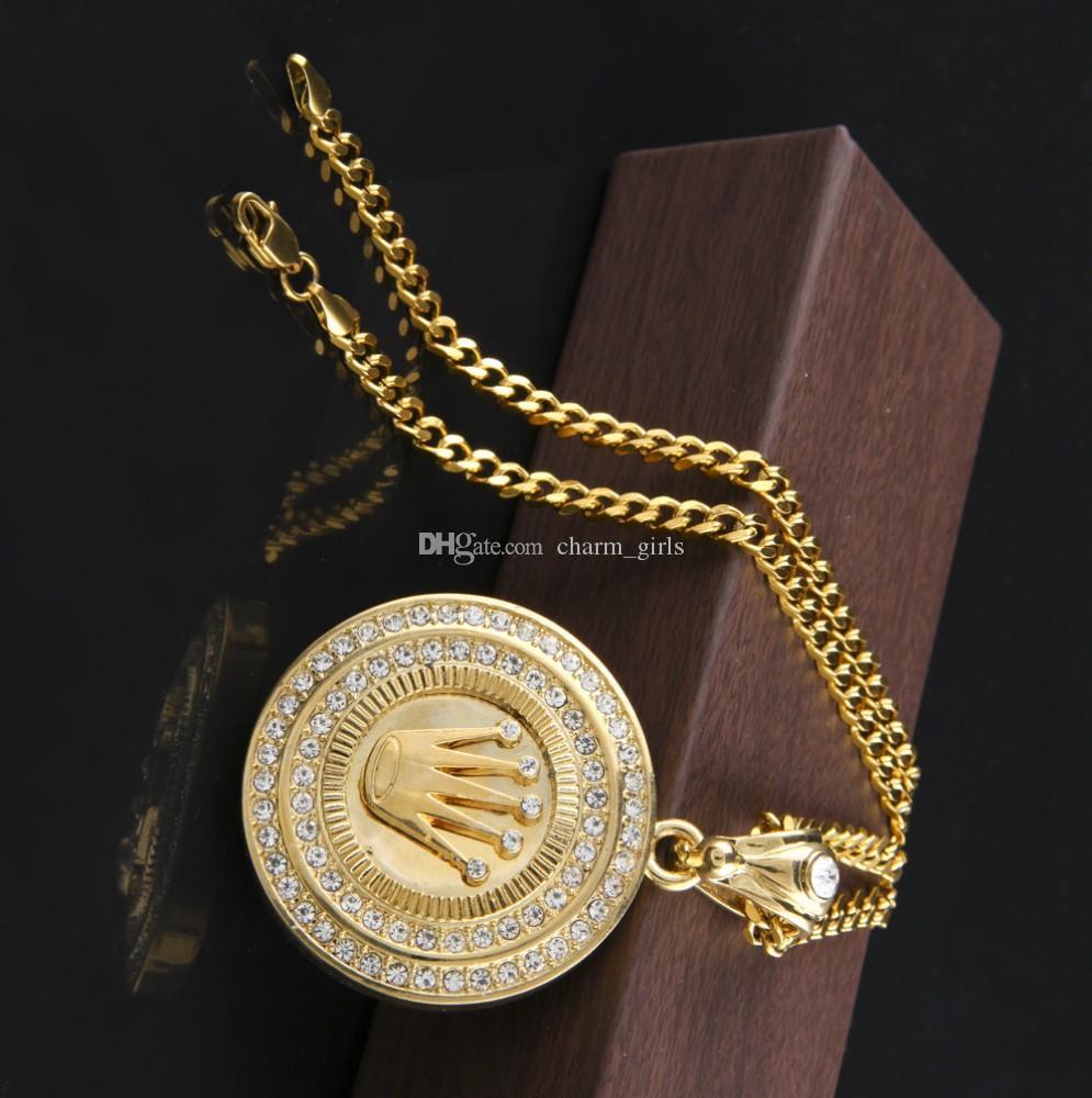 2020 جديد أزياء الرجل مجوهرات الهيب هوب سلسلة 24K مطلية بالذهب الملك ولي العهد قلادة مثلج خارج جولة بلينغ كريستال قلادة قلادة طويلة الكوبية