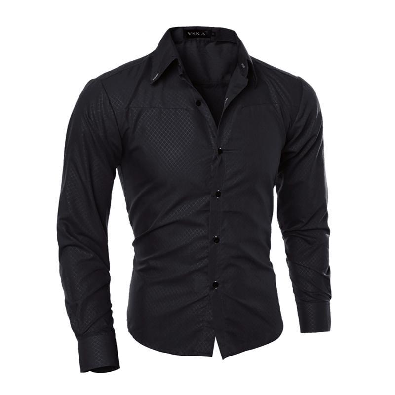 Hombre Vestir Vestido 2018 Casual Slim Fit Mens Chemise Homme Hombres Malla Sólida Heren Hemden Camisa Masculina 5xl