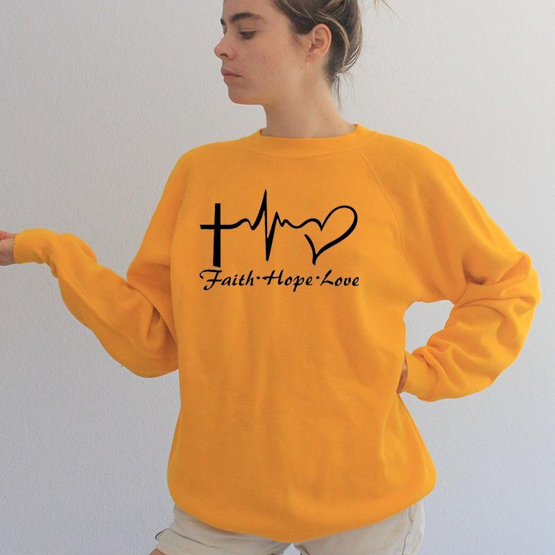 Fe, esperanza, amor, mujer, sudadera, cuello redondo, pulso, gráfico, Harajuku, sudadera con capucha, ropa de Christian Jesus, envío de la gota