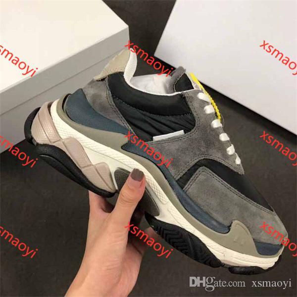 Balenciaga Yeni üçlü S Sneakers hococal Erkek Kadın moda Paris 17FW üçlü S koşu ayakkabıları spor rahat ayakkabı Büyükbaba Eğitmen Ayakkabı boyutu 36-45