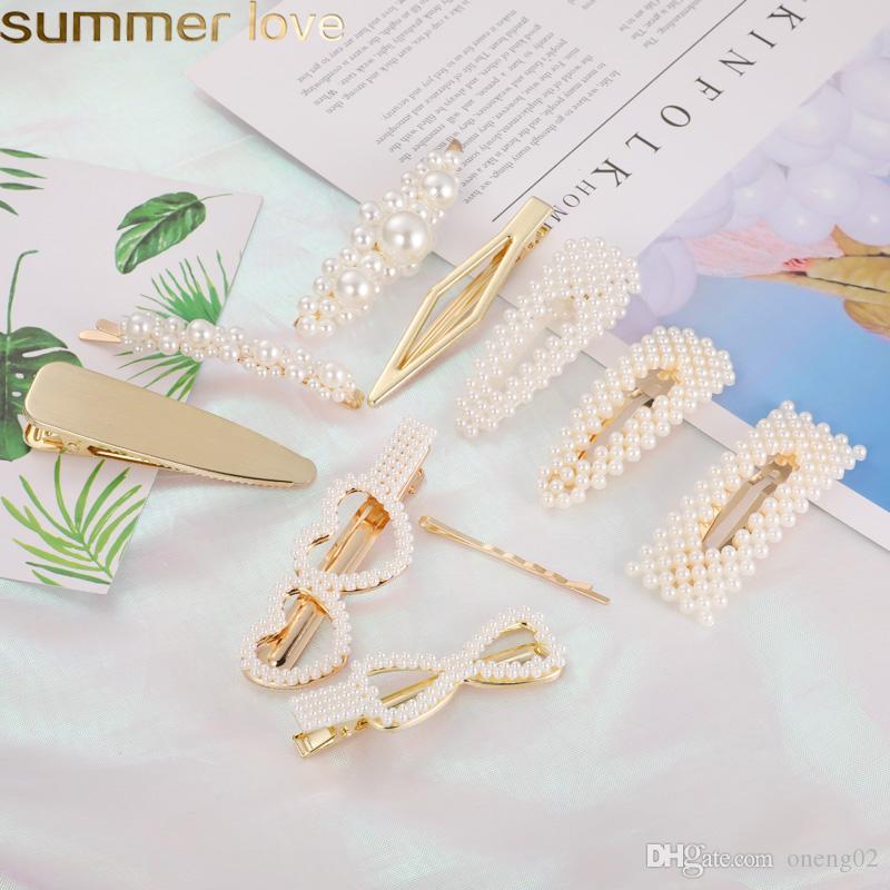 Korea Fashion Pearl Hair Clips for Women Heart Shape Love Hairpins Trendy Handmade Elegant Hair Styling Accessories