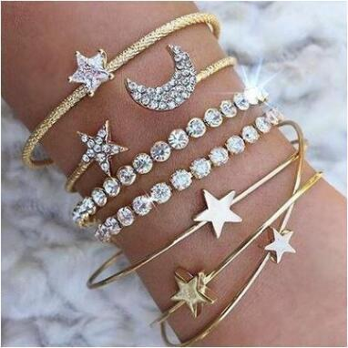 Cheap Bangles Fashionable Star Moon Opening Bracelet Set Of Four Hand Rings For women blang Bangles