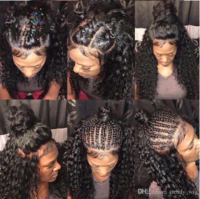 Perucas com atacadores europeus e Americanos conjuntos de cabelo afro-americano franja de pequeno volume cabelo trançado cabelo preto natural peruca encaracolada parcialmente longa