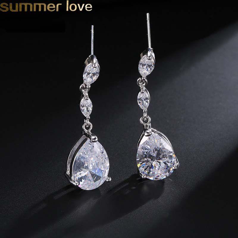 New Classic Water Drop Shaped Cubic Zirconia Earring Bridal Long Dangle Zircon Earrings Wedding Jewelry For Women Girls Brides Bridesmaid