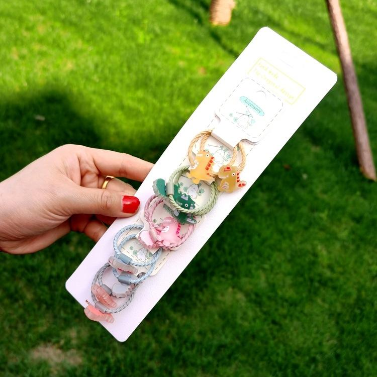 5 pairs of cute cartoon do not hurt rope little girl tie children's rubber baby leather accessories rubber Hair band hair band