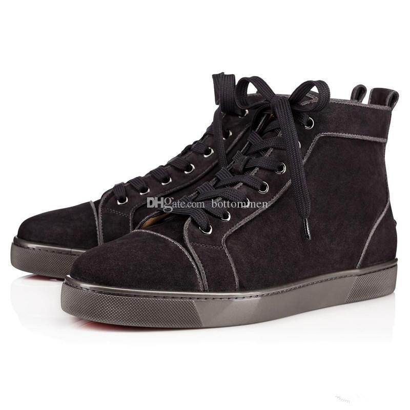 Дизайн обуви Спайк высокий топ Марка Красное дно мужчины кроссовки роскошные свадебные туфли из натуральной замши Шипы шнуровке Повседневная обувь с коробкой