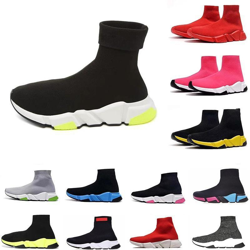 New Fashion Designer Sock Sports Casual Shoes Cool Glitter Grey Triple Black All Red Speed Trainer Star Mens Trainers Runner platform bottom