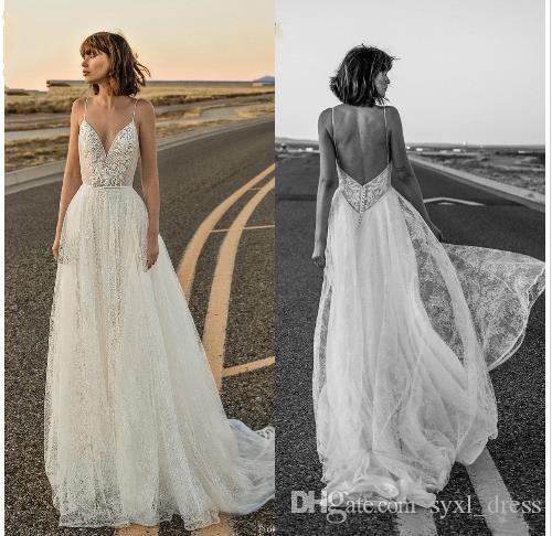 2019 Богемия свадебные платья бретельках кружева аппликации спинки плюс размер свадебные платья пляж Boho robe de mariée