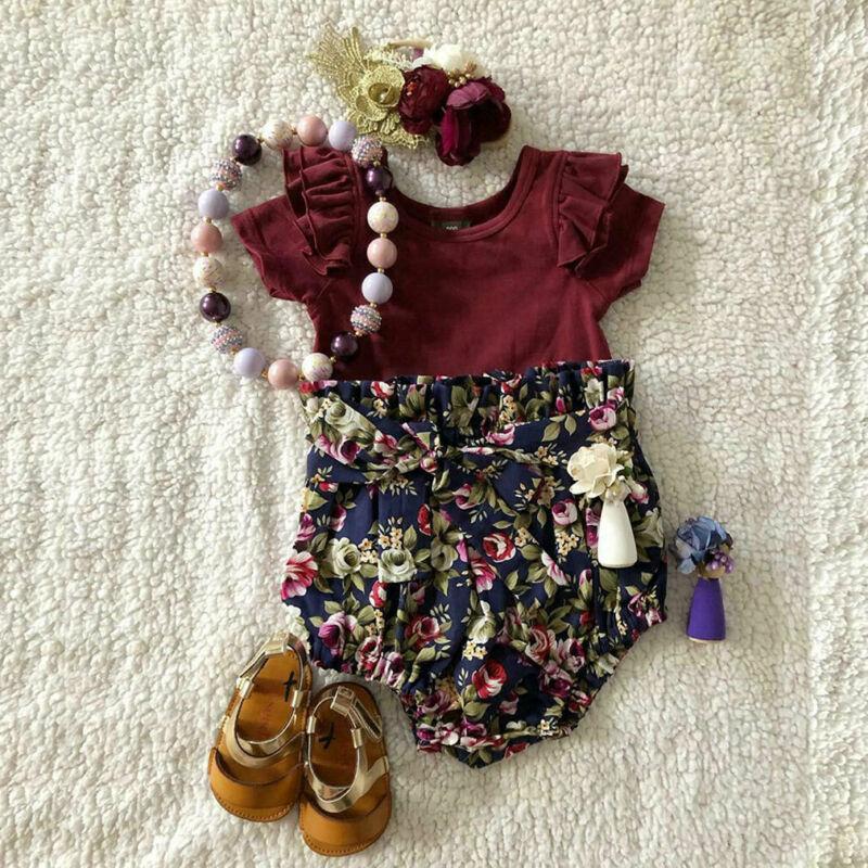 Pantaloni 0-24M Sumsuit neonata del bambino Top pagliaccetto tuta Clothes + floreali Outfit set Insiemi Bambini Bambini Abbigliamento Moda