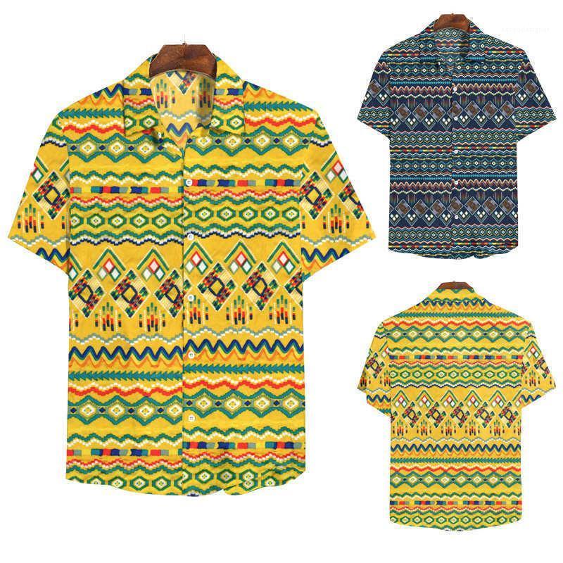 Stampa Shirt manica corta casuale Turn-down Collar camice della spiaggia di modo di stile di camicia maschile Abbigliamento Uomo Designer