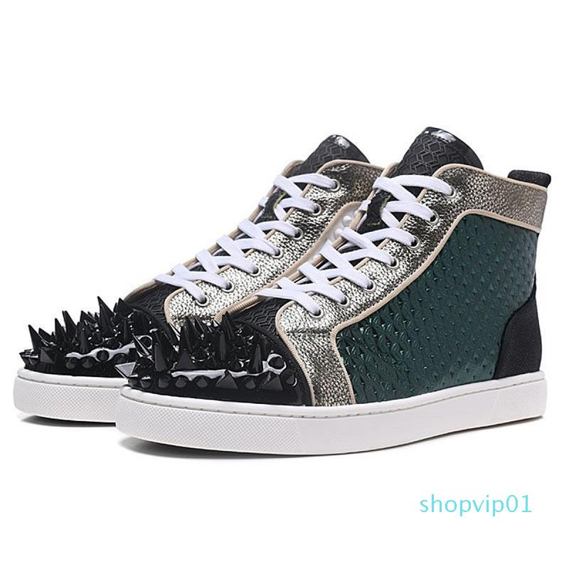 designer shoes men Chaussures Studded Spike Sneakers Black White Red Leather Suede flat bottoms casual shoe 36-47 vintage c16
