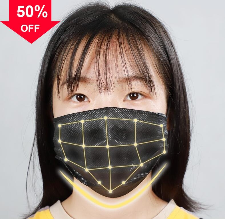 nNSiW In Stock!Disposable Masks with Elastic Ear Loop 3 Ply Breathable and Comfortable for Blocking Dust Air Pollution full Face mask P