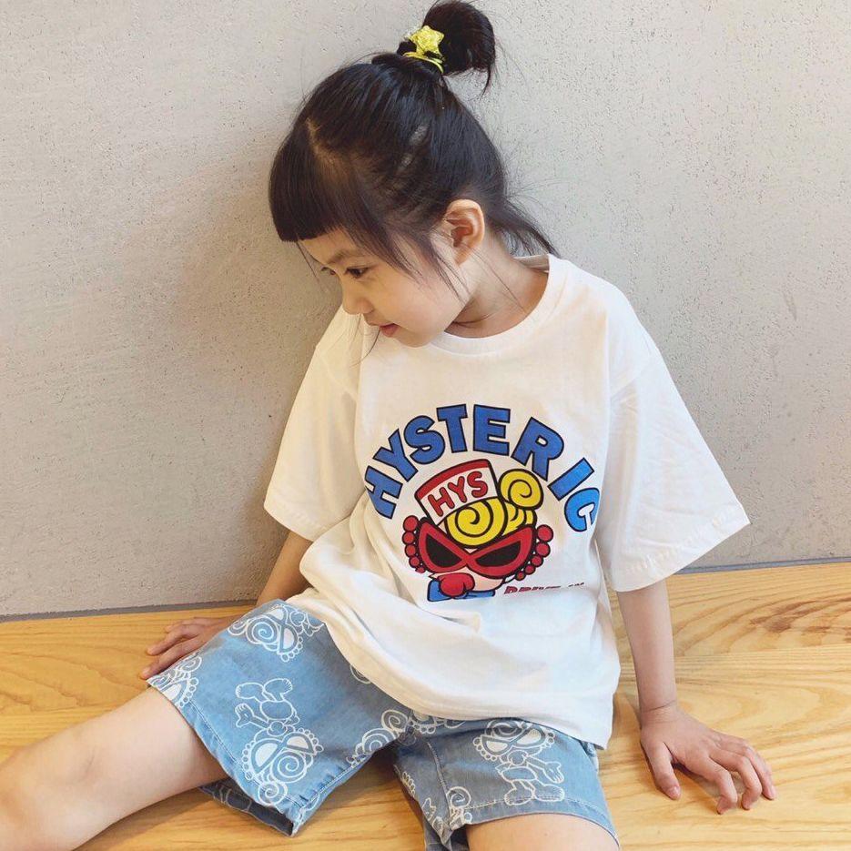 مصمم الأطفال بلايز الطفل الصيف العلامة التجارية قصيرة الأكمام الاطفال شخصية للرسوم المتحركة طباعة الأعلى بنات موضة بلايز تيز للأطفال ارتفاع كانليتي