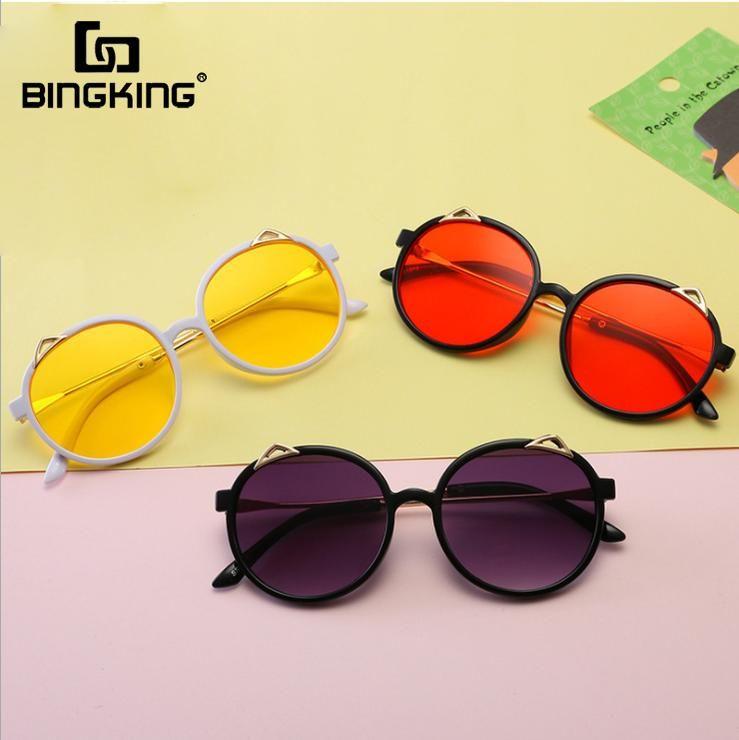 Bingking Детские солнцезащитные очки Cute Cat Дети Мальчики Ретро Солнцезащитные очки Мода Урожай круглый кадр Оттенки очки очки UV400 uwFdK