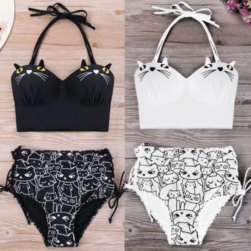 New Women Retro Swimsuit High Waist Swimsuit Bandage Halter Bikini Set Cartoon Cat Print Bathing Suit High Waist Beachwear 2018