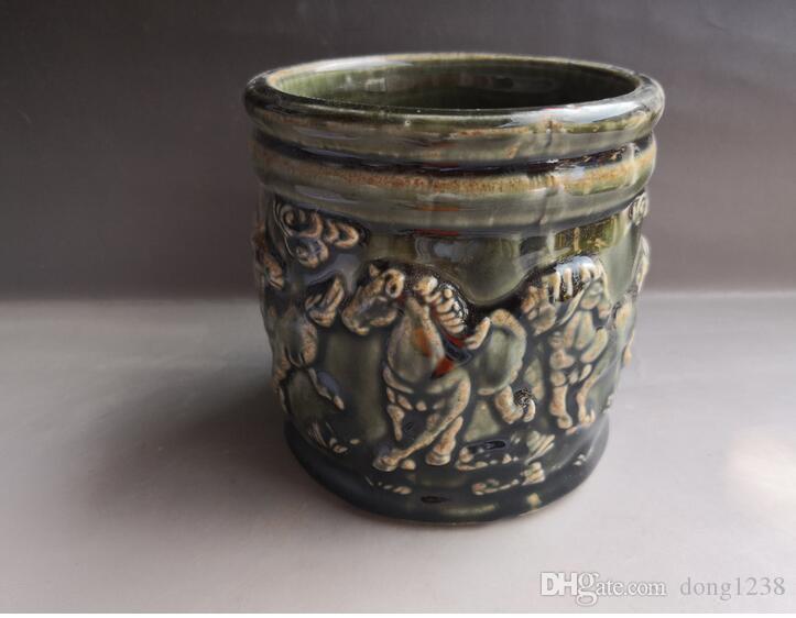Chinesischer alter Porzellan-Grünglasurporzellan-Bürstentopf