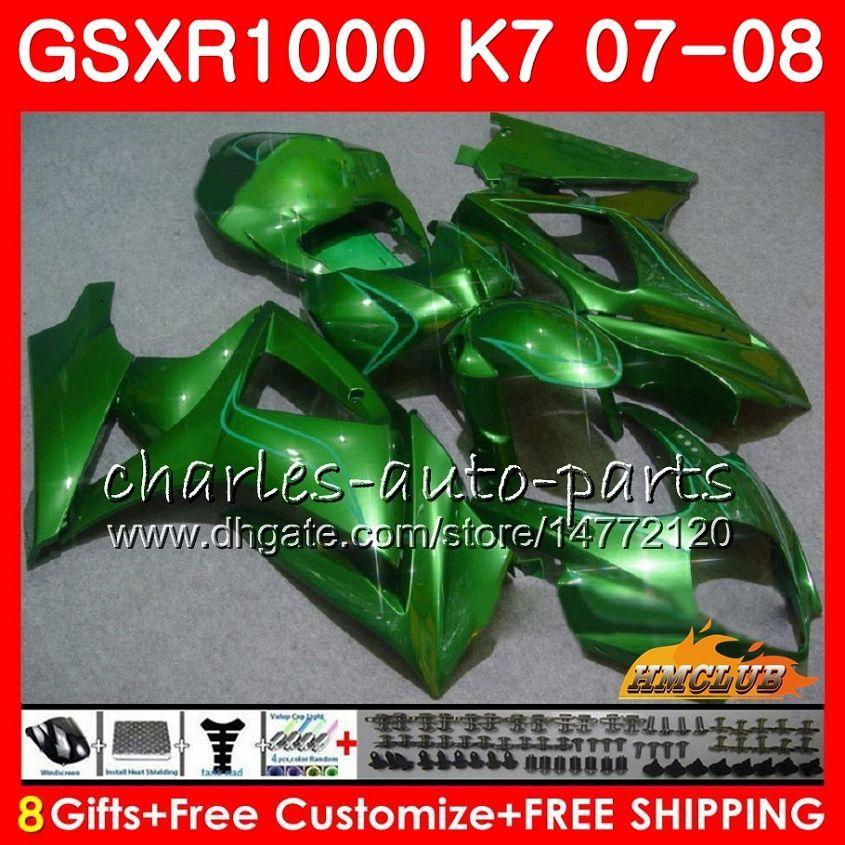 Carnado de Suzuki GSXR 1000 GSX-R1000 K7 GSXR-1000 07 08 Bodywork 12HC.69 GSX R1000 GSXR1000 07 08 2007 2008 Kit de cuerpo verde brillante brillante brillante