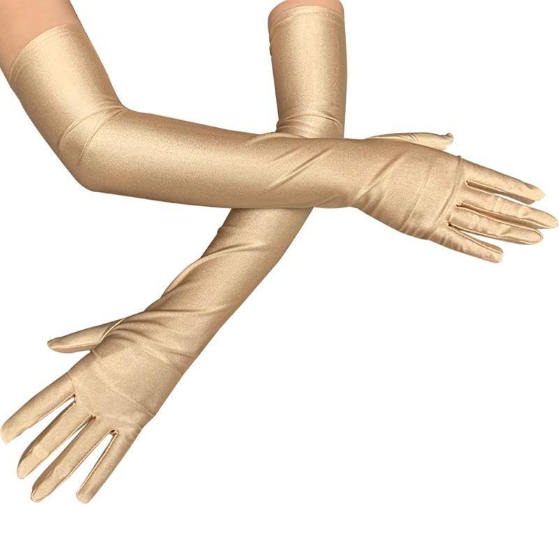 1Pair Schwarz Rot Weiß Champagne Lange Finger Elbow Sun-Schutzhandschuhe Opera-Abend-Partei-Abschlussball-Kostüm Mode Handschuhe 4 Farben