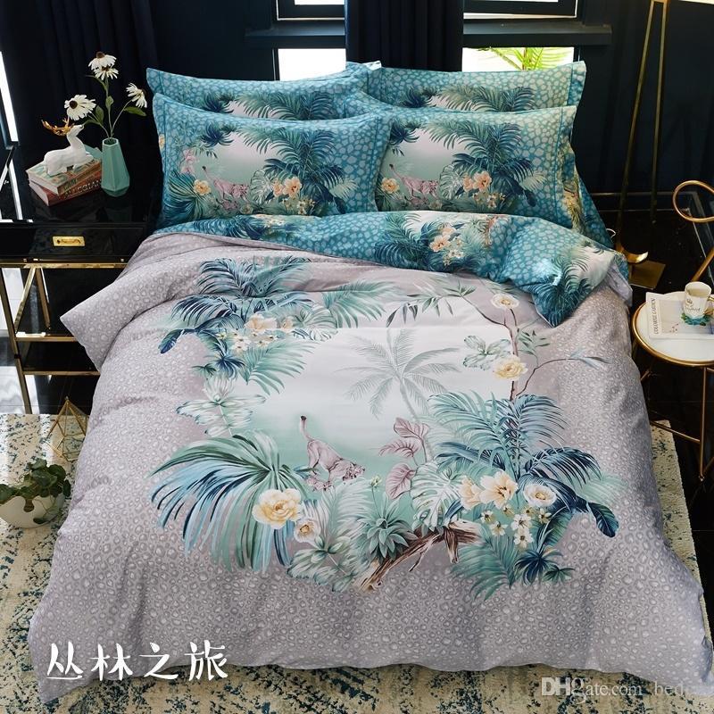 Atacado-2015 New Printing Bedding Set Moda Folha de Cama / Capa de Edredão / Fronha de Algodão Inverno 4 Pcs Bed Set Conjuntos de Cama Consolador
